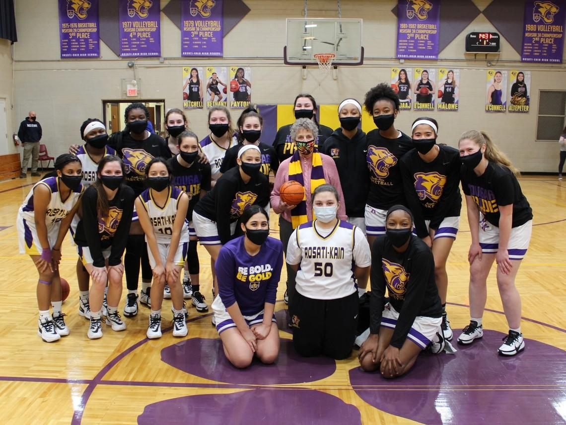 Sister Nancy with the Rosati-Kain Basketball Team